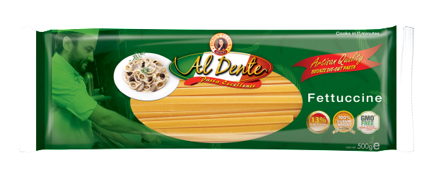 FETTUCCINE is derived from the Italian word fetta, meaning ribbon. This basic noodle provides a better surface for catching sauce. It is often served in Alfredo sauce, a mix of parmesan cheese and butter. Available in 500g pack.