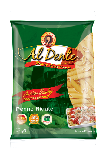 PENNE (singular penna) RIGATE (ridged). The pasta gets its name from penna, meaning feather or quill. It is often used in various pasta dishes, boiled until al dente and tossed with sauces or baked in ovens. Available in 250g & 500g packs.