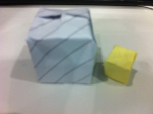 Big (a page from my notebook) and small (Post It note) Origami cubes