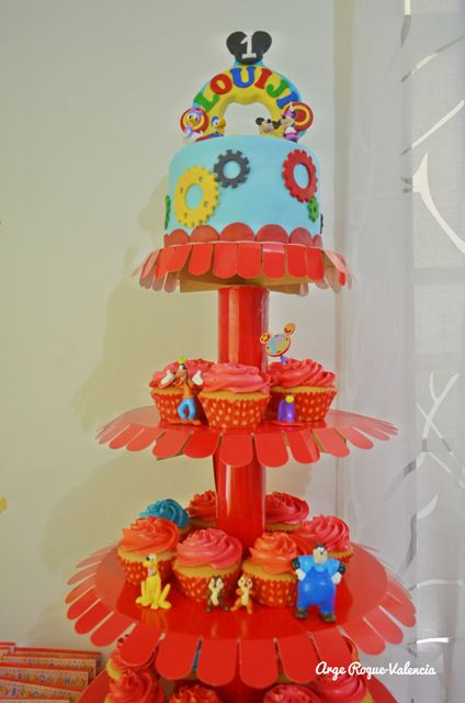 Louiji's Cake and Cupcake Tower with Mickey Mouse Clubhouse figures