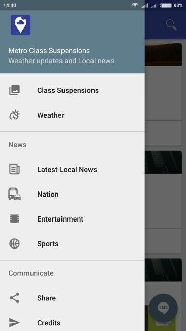 Metro Class Suspensions App - Menu