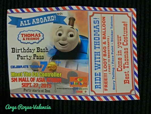 Thomas Birthday Bash Ticket