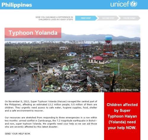 The UNICEF Philippines Donation Page