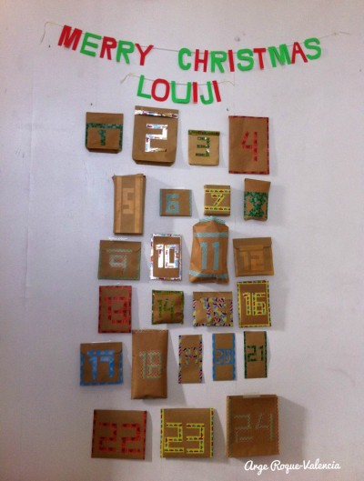 Louiji's first advent calendar captured in poor lighting. This was taken at daytime.